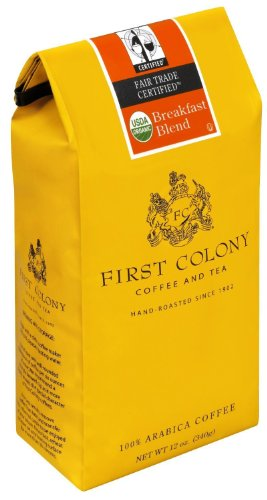 First Colony Organic Breakfast Blend Fair Trade Certified, Medium Roast Coffee, 12-ounce Bags (Pack of 6)