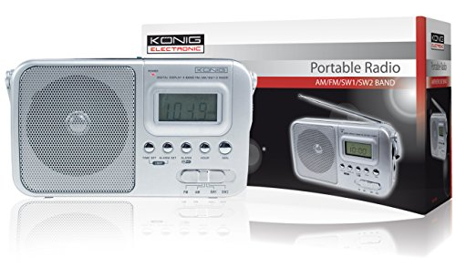 Konig Portable AM/FM/SW Radio - Silver
