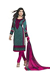 Globalepartner Women Synthetic Dress Material (Green Pink White) (GEP-DC-57)