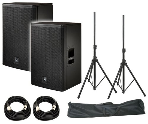 "Electro-Voice Elx115P 15"" Live X Two-Way Powered Loudspeaker (Pair) / Free Prox T-Ss20P Standard Speaker Stands W/ Bag / Free (2) Xlr To Xlr Cables 20Ft Ea"