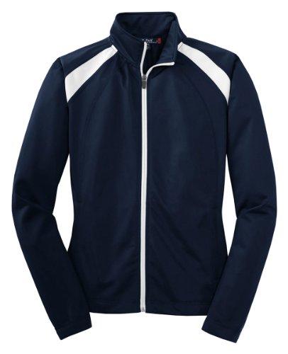 Sport-Tek Lst90 Ladies Tricot Track Jacket - True Navy/White - Xxl front-321518