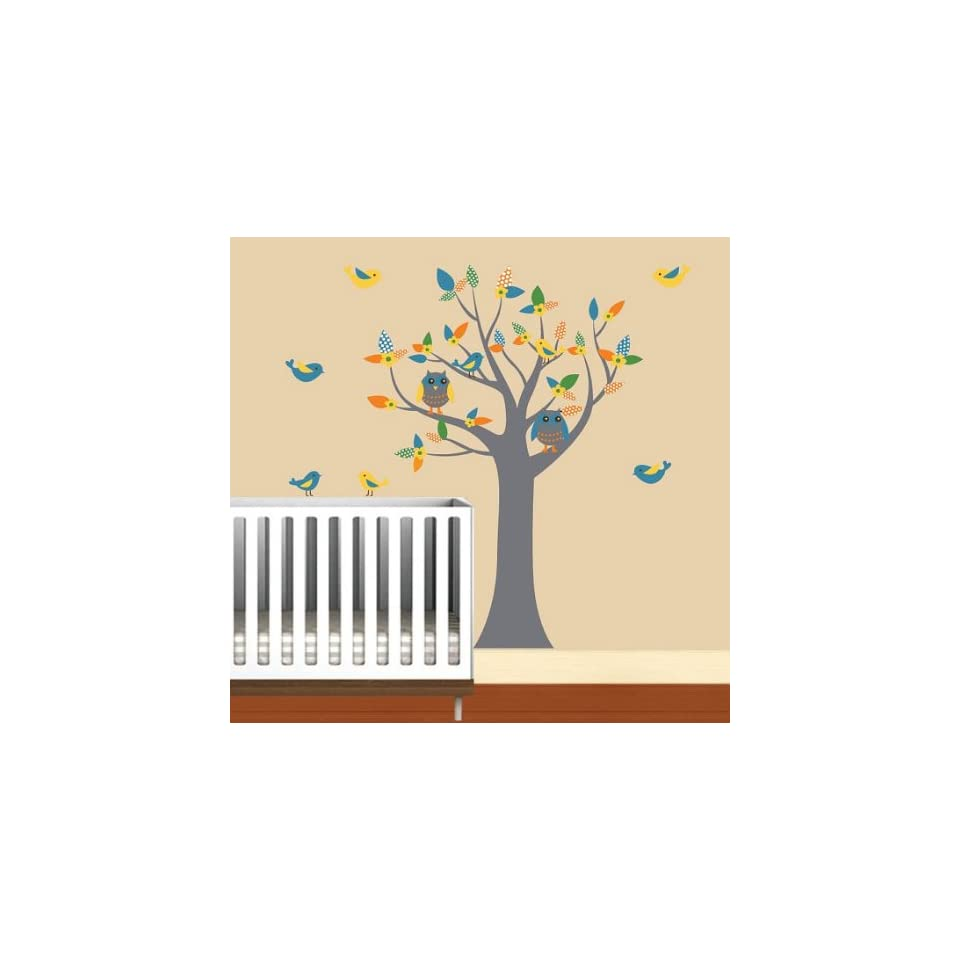 Nursery Kids tree vinyl wall decal with 2 owls flowers and