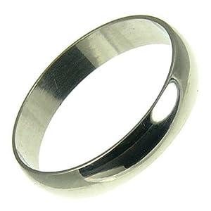 Kareco Men's Platinum Wedding Ring, D Shape, 4mm Band Width