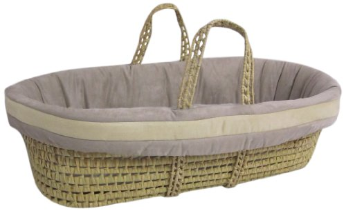 Baby Doll Bedding Zuma Moses Basket Set, Grey/Beige