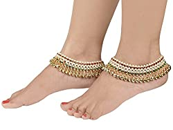 Bollywood style Traditional MultiColored Pair of Gold Anklets with Ghungroos