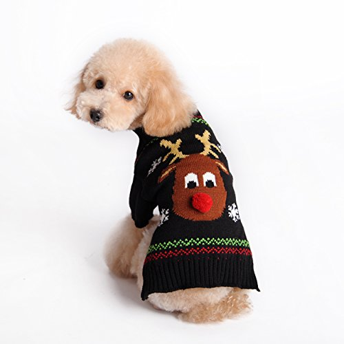 Pet Holiday Cartoon Reindeer Dog Sweater