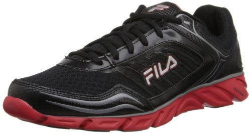 Fila Men's Memory Fresh 2 Running Shoe, Black/Fila Red/Metallic Silver, 12 M US