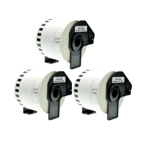 3 Endlos-Etiketten für Brother DK-22205 QL-720 500 560 1060...