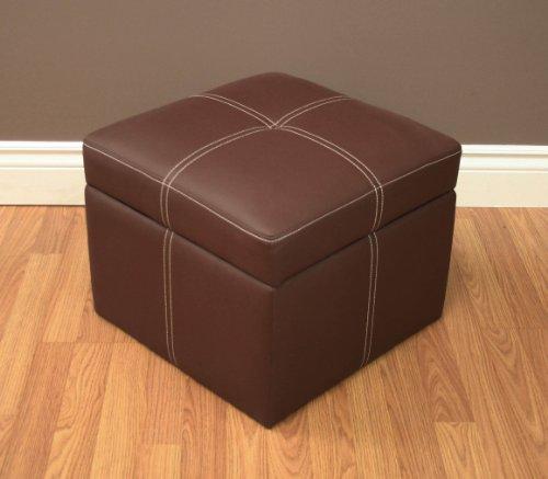 Delaney small square storage ottoman brown furniture ottomans for Small square couch