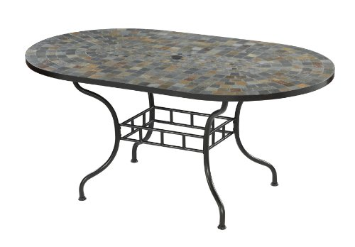 Home Styles 5601-33 Stone Harbor Dining Table, Slate/Black Finish, 65-Inch image
