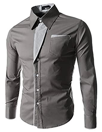 Herren lange Aermel Streifen gepatcht slim fit Dress laessiges Hemd DUNKELGRAU Medium(EU 46)