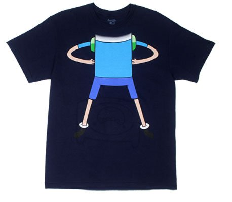 Finn Body And Face - Adventure Time Reversible T-Shirt: Adult Xl - Navy Blue