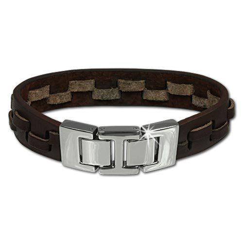 SilberDream leather bracelet brown with stainless steel fastener, variable size, leather bracelet genuine leather LAP002B