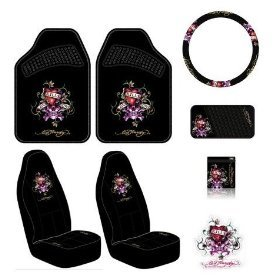 Ed Hardy Love Kills Slowly Seat Covers Floor Mats Steering Wheel Cover CD DVD Visor Organizer Vent Pocket Cling Bling Decal 8 Pc Auto Accessories Gift