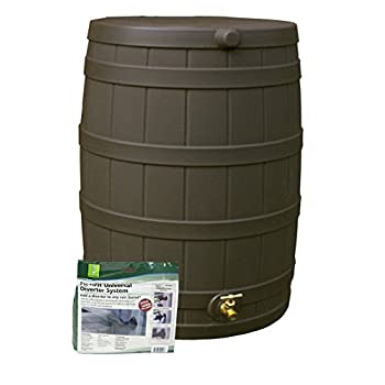 Good Ideas RW50-DIV-OAK Rain Wizard Rain Barrel 50-Gallon Diverter Kit, Oak