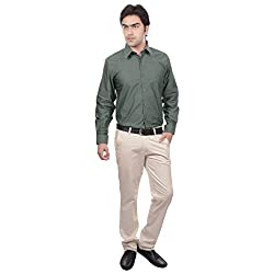 Sangam Apparels Regular Fit Green Formal Shirt
