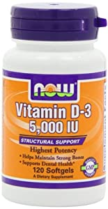 Now Foods, Vitamin D-3, Highest Potency, 5,000 IU, 120 Softgels.