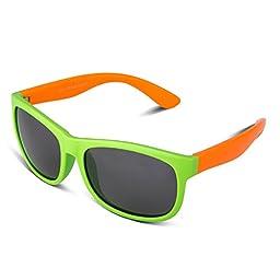 RIVBOS RBK023 Rubber Flexible Kids Polarized Sunglasses Wayfarer Glasses Age 3-10 (Green)