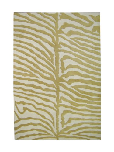 ZnZ Rugs Gallery, 19033_4x6, Hand Made Olive Green New Zealand Blend Wool Rug, 1, Ivory, 4x6'