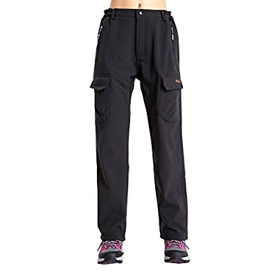 Womens Insulated Cargo Snow Pants - Fleece Lined, Windproof, Water Resistant