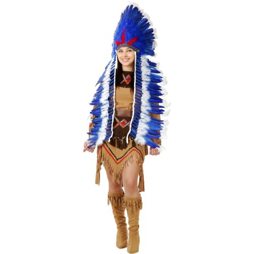 Blue & White Indian Headdress with Trailer