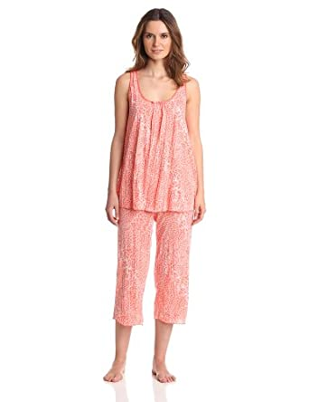 Anne Klein Women's Crazy For Crinkle Pajama, Blush Print, Medium