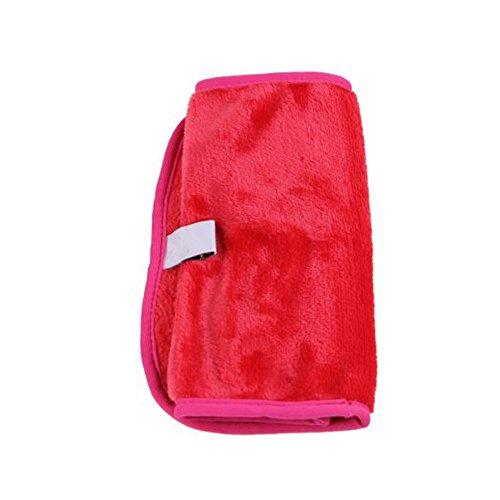 Lingettes nettoyantes pour le visage, E-TOP maquillage naturel prime de décapant microfibre - démaquille en quelques secondes avec juste de l'eau - sans produits chimiques tissu super doux et haute microfibre absorption d'eau, rose rouge