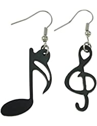 Town Of Trinkets Fashion Asymmetric Earrings Women Jewelry Accessories Gifts Drop Earring Black Music Note Dangle...