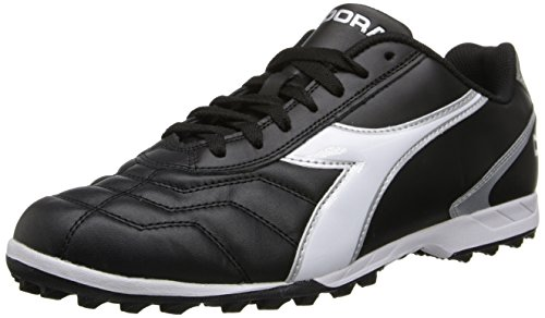 Diadora Men's Capitano LT Turf Soccer Shoe, Black/White, 10 M US