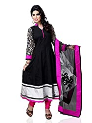 Diva Fusion Womens Cotton Anarkali Dress Material (Dfa120 _Black And Pink _Free Size)