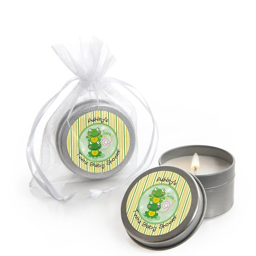 Twin Froggy Frogs - Personalized Baby Shower Candle Tin Favors front-806706