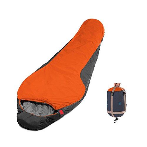 CAMTOA Outdoor Mummia Sacco a Pelo / Busta Sacco a Pelo/ Sleeping Bag, Ultra-compattabile Ultra Leggero per Campeggio Caccia Pesca Travelling Attività all'aperto Arancione