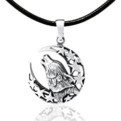 Chuvora 925 Sterling Silver Howling Wild Wolf Totem Amulet with Crescent Moon and Stars Pendant with Genuine Black Leather Cord 18 - Nickel Free