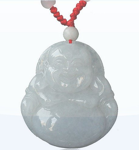 Jadeite Jade Smiling Buddha Pendant Necklace(With Certificate)-SN3385