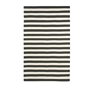 DwellStudio Draper Stripe Ink and Cream Rug, 5 by 8-Feet