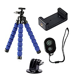 TiPOTiPO Octopus Tripod Stand Holder For iPhone Android Phone With Clip and Remote (Blue)