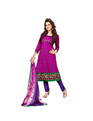 Women's Pink & Purple Cotton Embroidered Semi Stitched Suit
