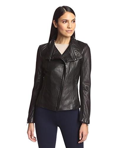Sam Edelman Women's Olivia Double Zip Leather Moto Jacket