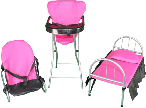 3 In 1 Doll Activity Play Set 1.Doll Bed 2. Doll High Chair 3. Doll Bouncer. front-142958