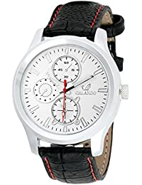 Orlando Casual Chronograph Look Analogue White Dial Black Leather Belt Mens Watch - W1288BSW