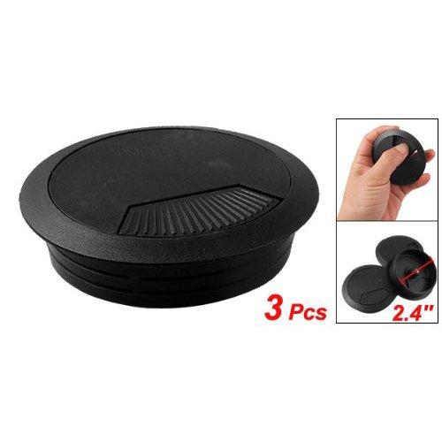 SODIAL(R) 3 pz passacavo in plastica nera per scrivania diametro 60mm