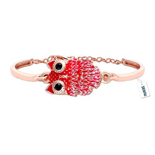 SENFAI Lovely Tiny Bloody gufo ciondolo braccialetto gioielli per Donna, rame, colore: oro/rosa, cod. SF-BR0343-CC