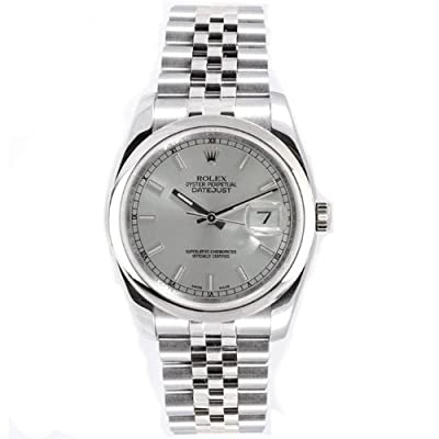 Rolex Mens New Style Heavy Band Stainless Steel Datejust Model 116200 Jubilee Band Stainless Steel Smooth Bezel Silver Stick Dial