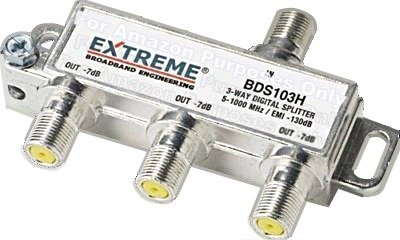 Read About EXTREME 3 WAY BALANCED HD DIGITAL 1GHz HIGH PERFORMANCE COAX CABLE SPLITTER - BDS102H