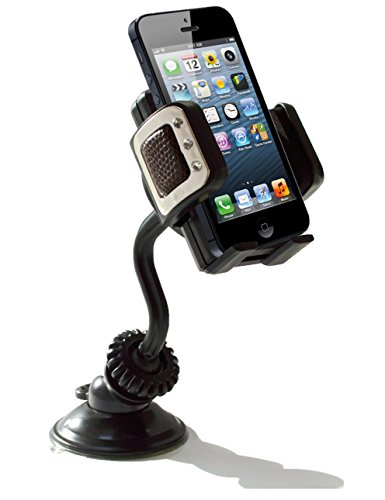 Onyx Easygrip Phone Car Mount - Universal Windshield Holder/Cradle (Black) - (Comes With A Free 360-Degree Rotating Car Mount Dashboard Disk) - Designed To Fit Apple Iphone 5S/5C/5/4S/4, Samsung Galaxy S5/S4/S3/S2, Nokia Lumia, Htc, Or Any Device Upto 3.5