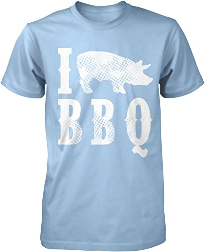 I Pig BBQ, I Pork BBQ, I Love BBQ, Piggy BBQ, Pig Roast Men's T-shirt, NOFO Clothing Co. XXXL LtBlue (Bbq Clothing compare prices)