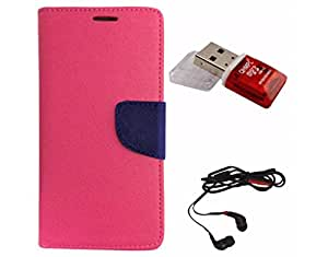Avzax Diary Look Flip Wallet Case Cover For Xiaomi Redmi Note Prime (Pink) + Memory Card Reader + In Ear Headphone