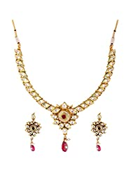 TKD Jewellers White And Red Color Traditional Wear Gold Plated Kundan Chain For Women (TKDJ013)