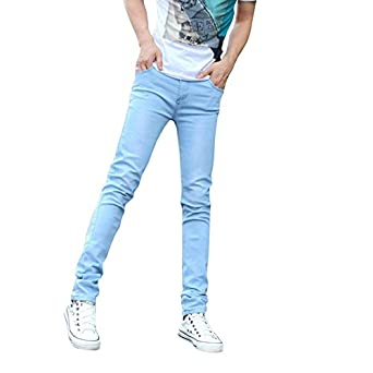 Meilaier Summer Fashion Youth Elastic Skinny Jeans Pencil Pants Blue (28)