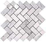 Carrara (Carrera) Bianco Polished 1x2 Herringbone Mosaic Tile